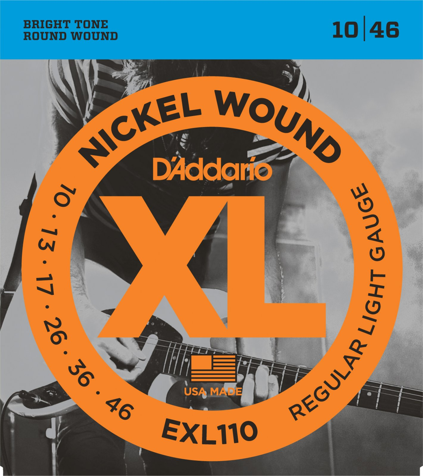 D'Addario XL Nickel Wound EXL110 Electric Guitar Strings, Regular Light, 10-46
