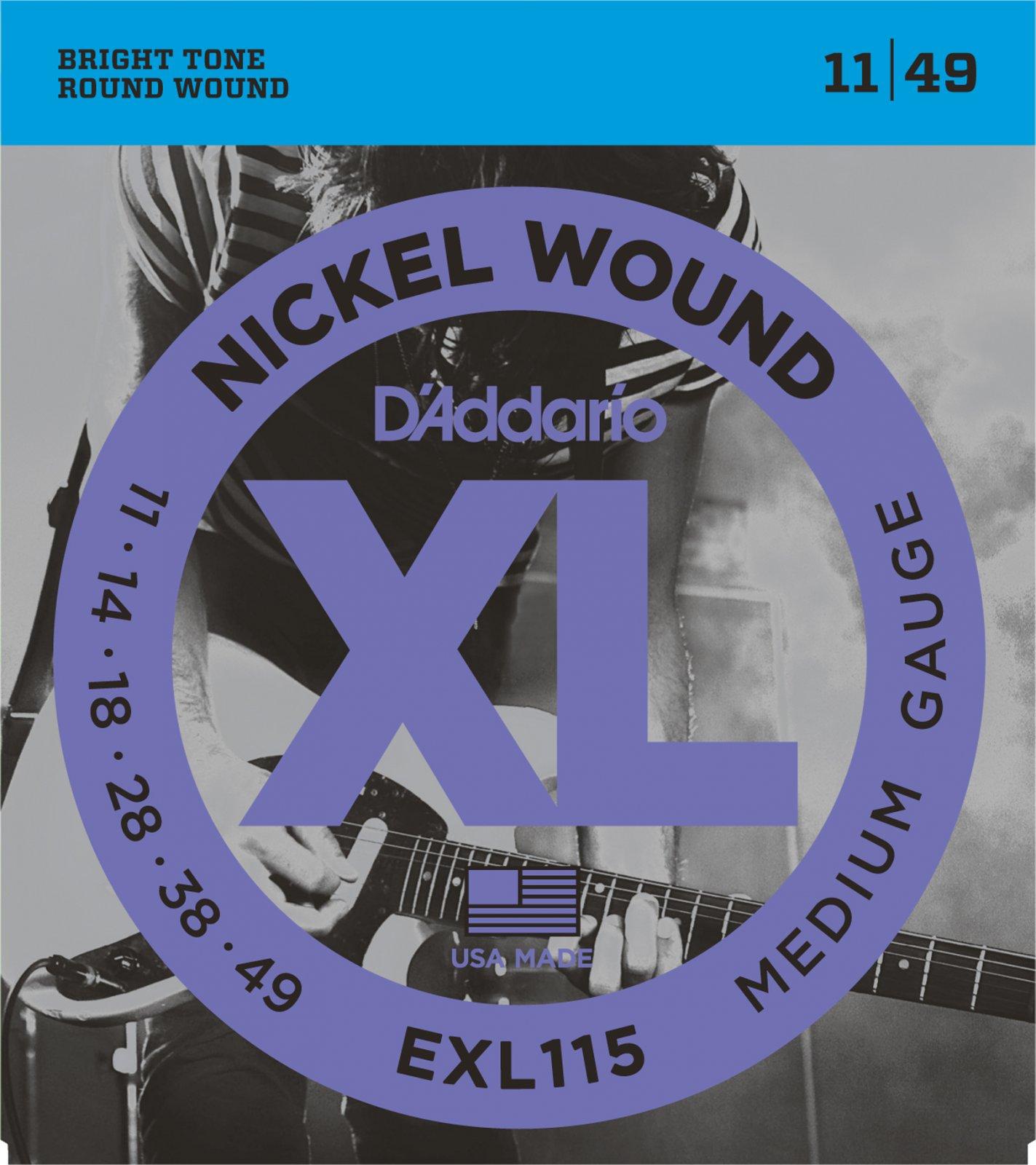 D'Addario XL Nickel Wound EXL115 Electric Guitar Strings, Medium/Blues-Jazz Rock, 11-49