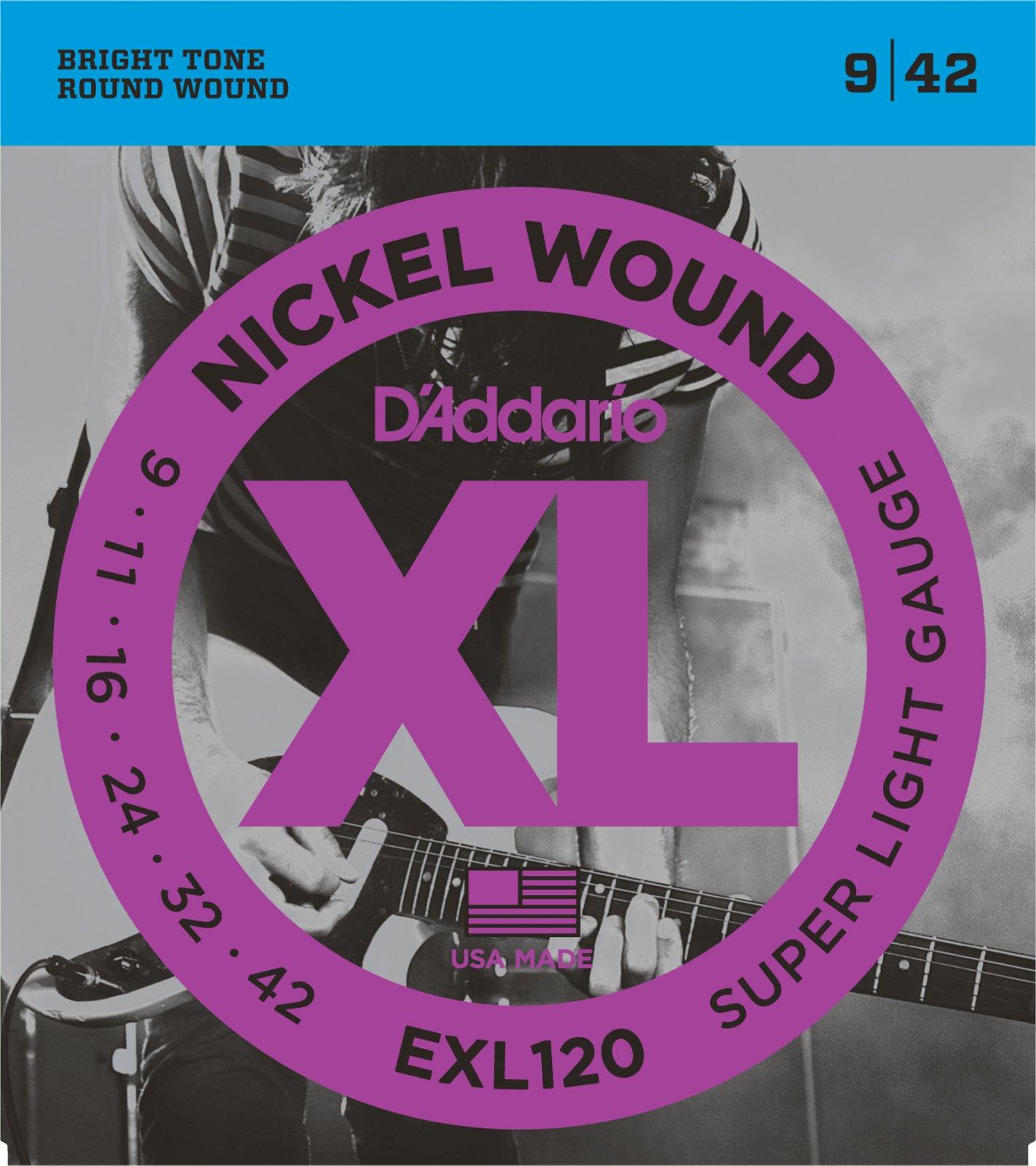 D'Addario XL Nickel Wound EXL120 Electric Guitar Strings, Super Light, 9-42