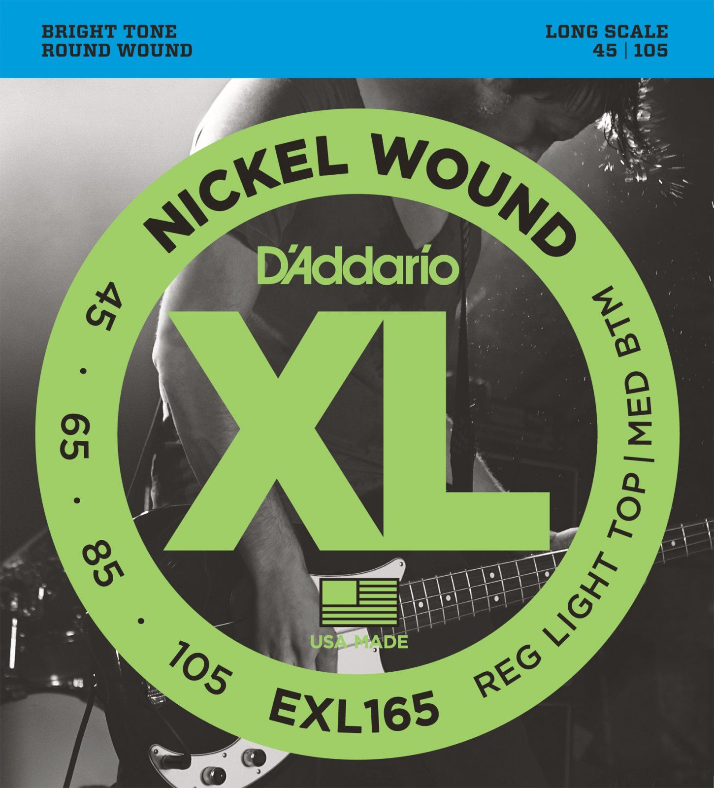 D'Addario XL Nickel Wound EXL165 Bass Guitar Strings, Long Scale, Custom Light, 45-105