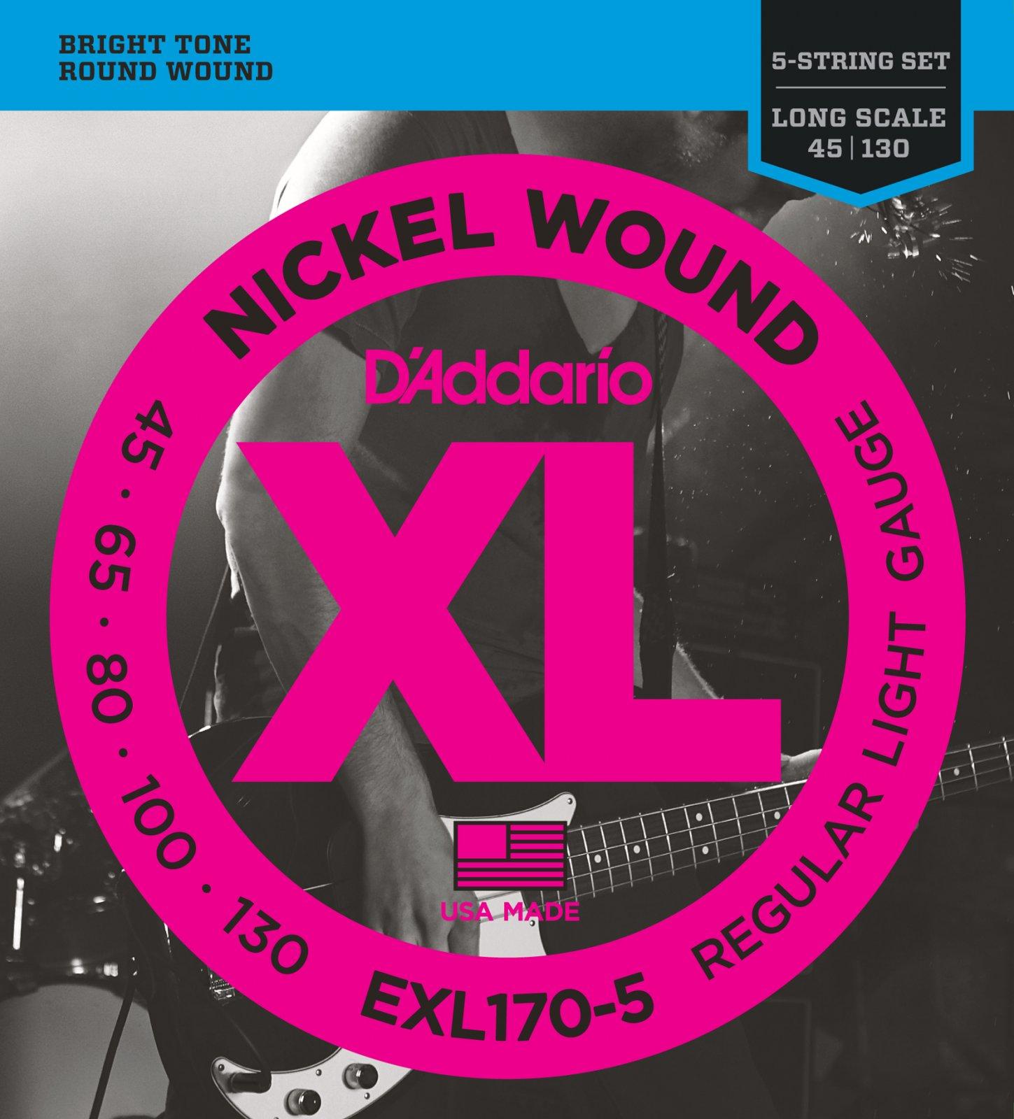 D'Addario XL Nickel Wound EXL170-5 Bass Guitar Strings, 5-String, Long Scale, Light, 45-130