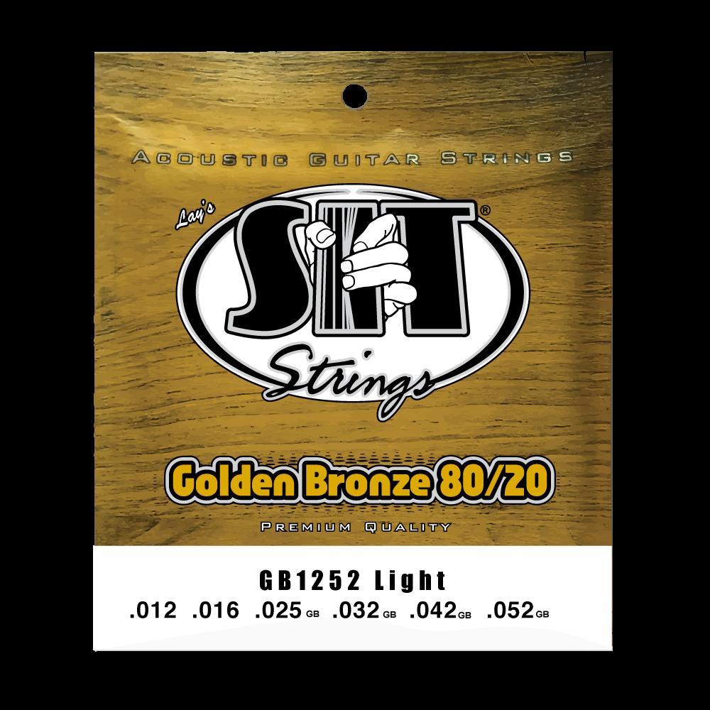 SIT Strings Golden Bronze 80/20 GB1252 Acoustic Guitar Strings, Light, 12-52