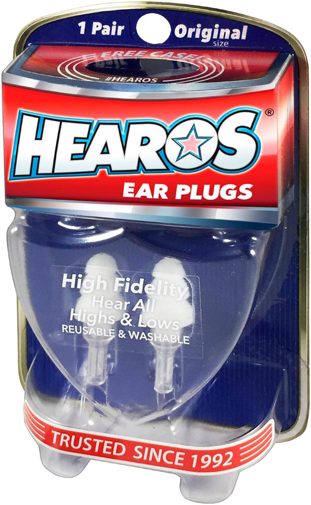 Hearos 211 High Fidelity Ear Plugs with Case, Original Size, 1 Pair