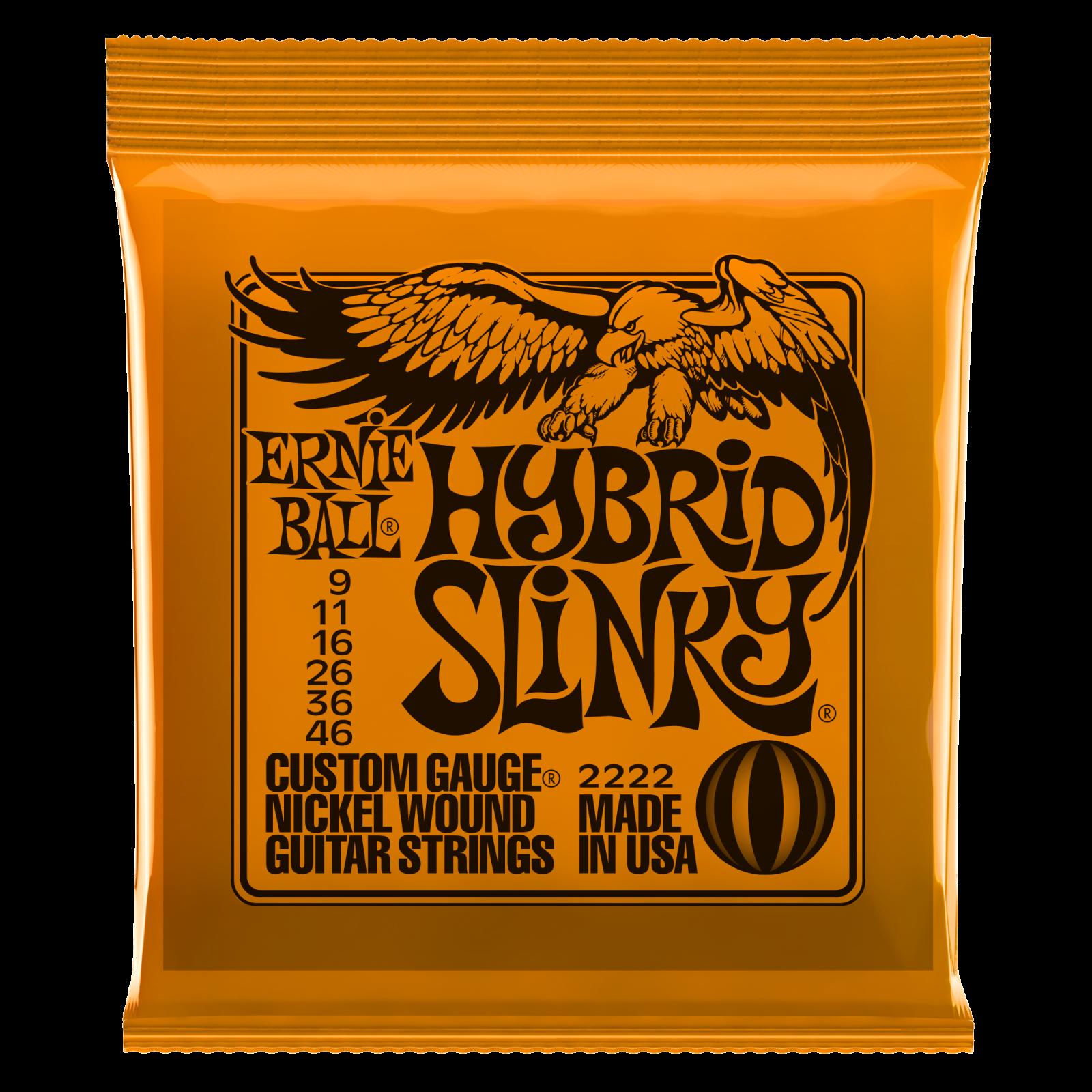 Ernie Ball Hybrid Slinky 2222 Electric Guitar Strings, Nickel Wound, 9-46