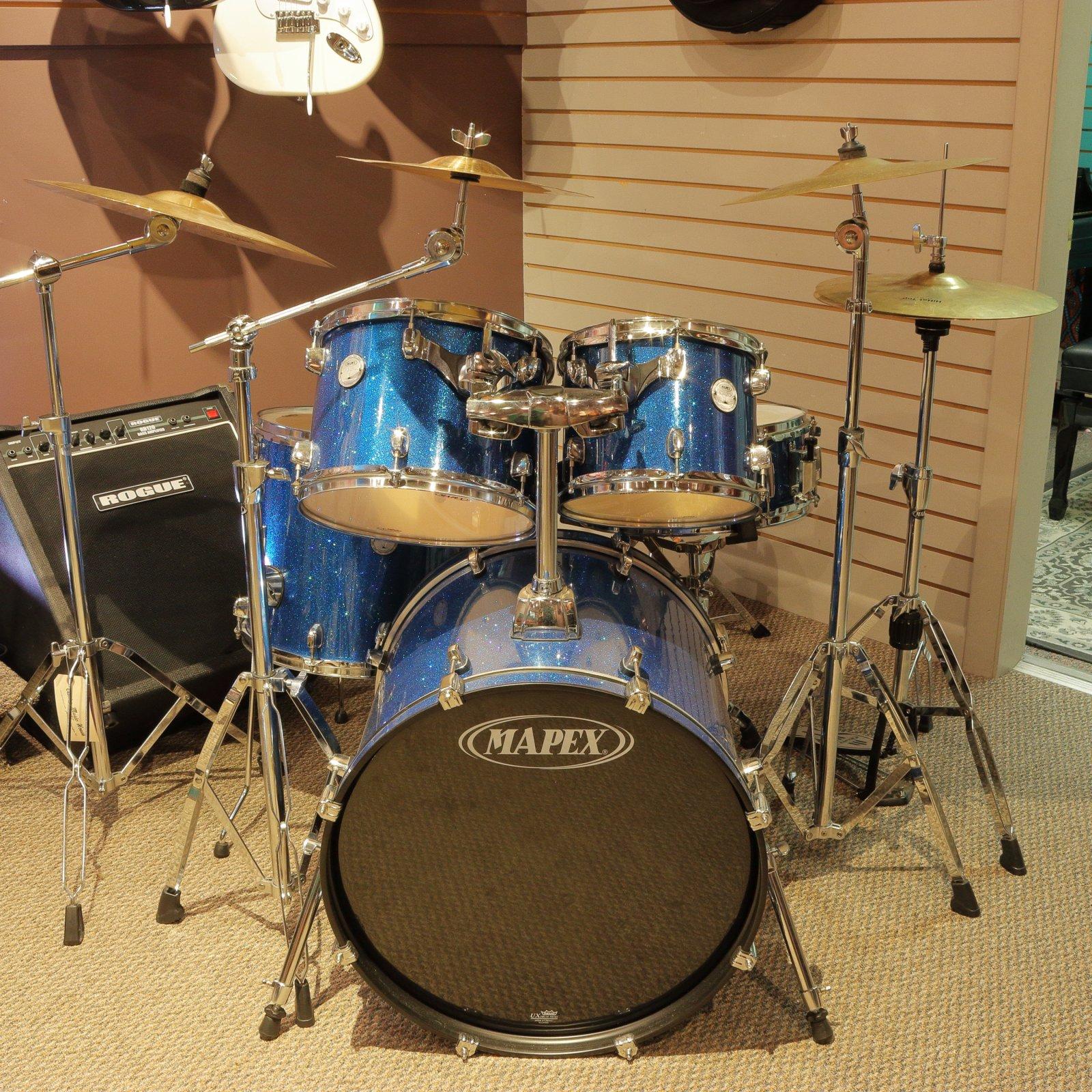 Mapex Horizon HX Series HX5045TCZNS 5-Piece Drum Set, Blue Sparkle, w/ Hardware & Cymbals (USED)