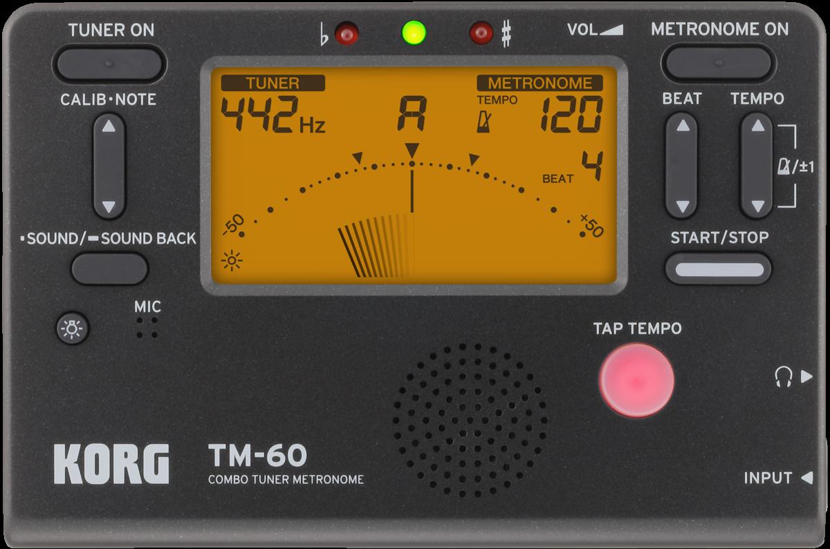 Korg TM-60 Combination Tuner & Metronome, Black