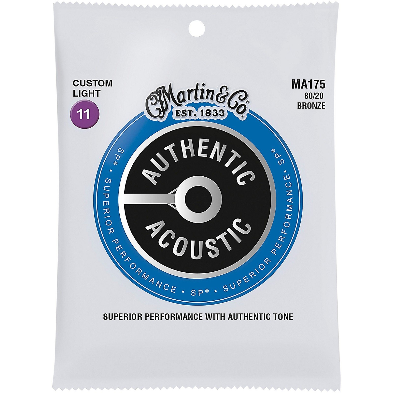 Martin MA175 Authentic Acoustic SP Phosphor Bronze Acoustic Guitar Strings, Custom Light 11-52