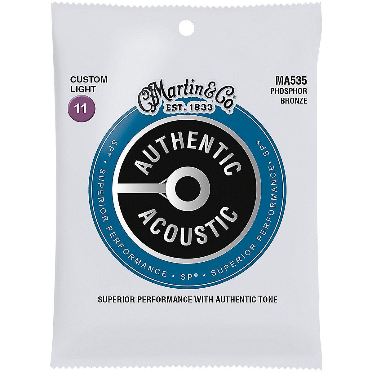 Martin MA535 Authentic Acoustic SP Phosphor Bronze Acoustic Guitar Strings, Custom Light 11-52