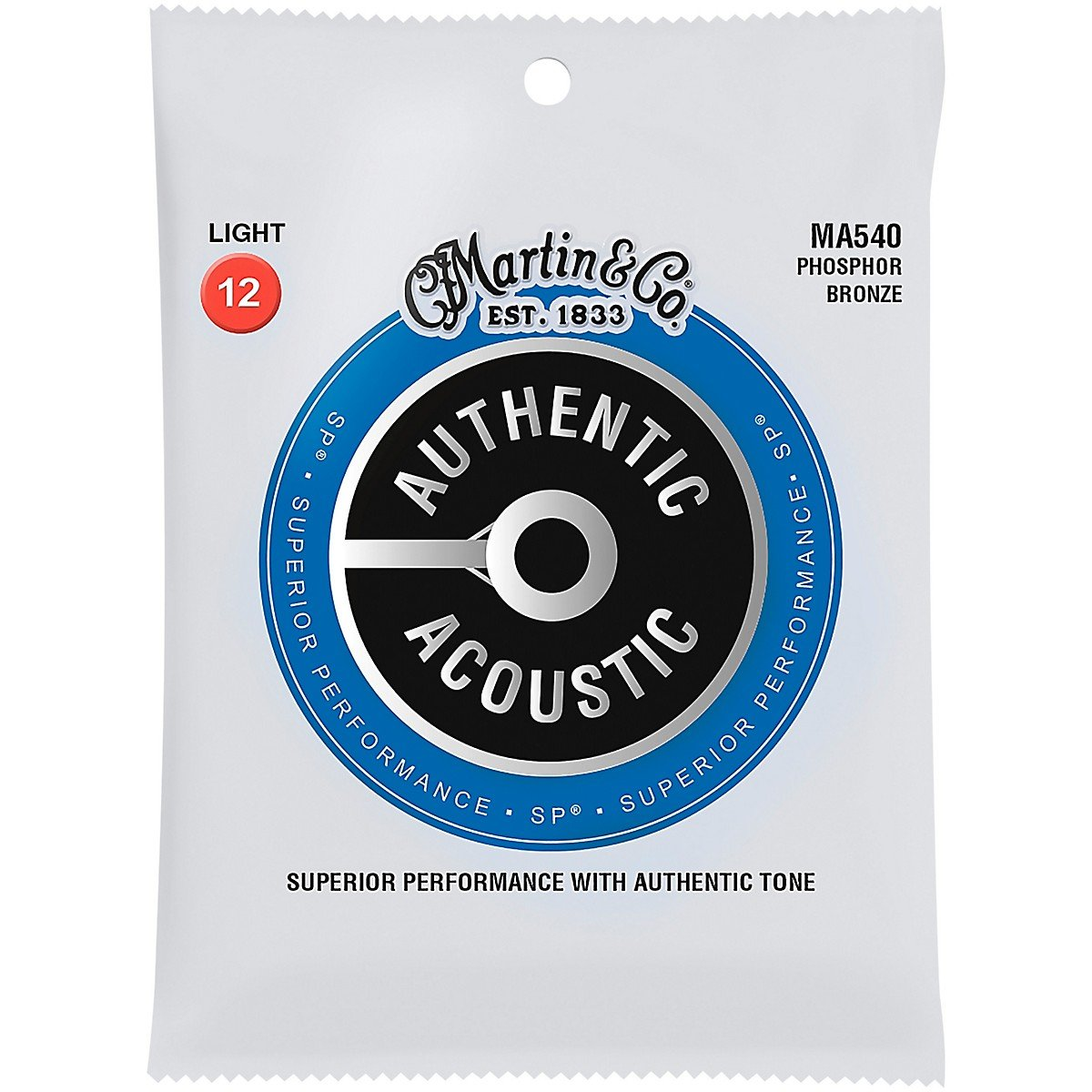 Martin MA540 Authentic Acoustic SP Phosphor Bronze Acoustic Guitar Strings, Light, 12-54