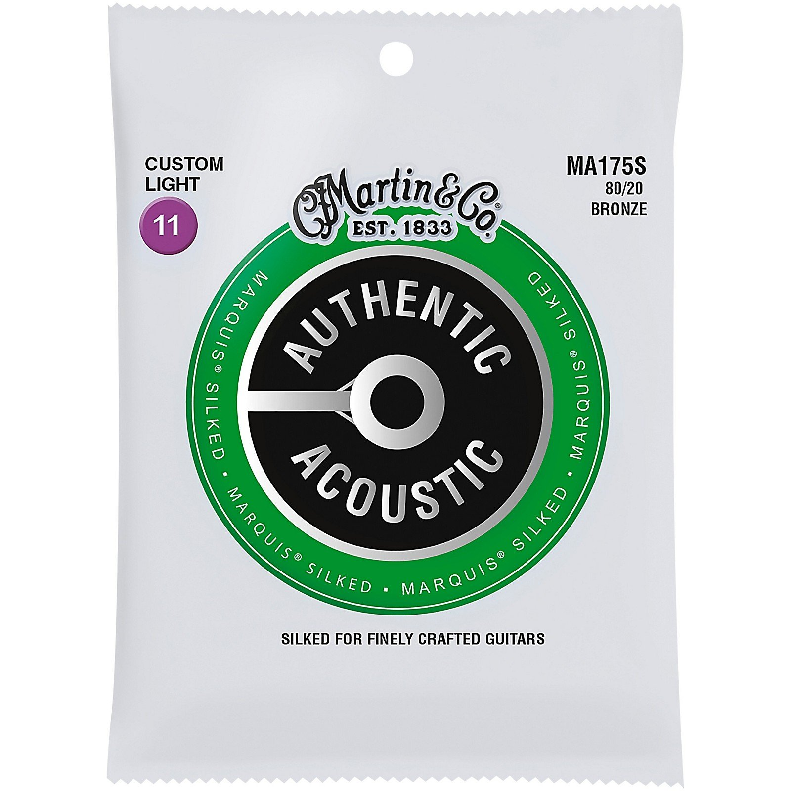 Martin MA175S Marquis Silked 80/20 Bronze Authentic Acoustic Guitar Strings, Custom Light 11-52