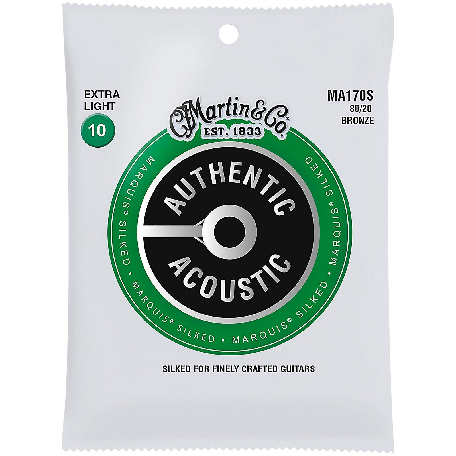Martin MA170S Marquis Silked 80/20 Bronze Authentic Acoustic Guitar Strings, Extra Light 10-47