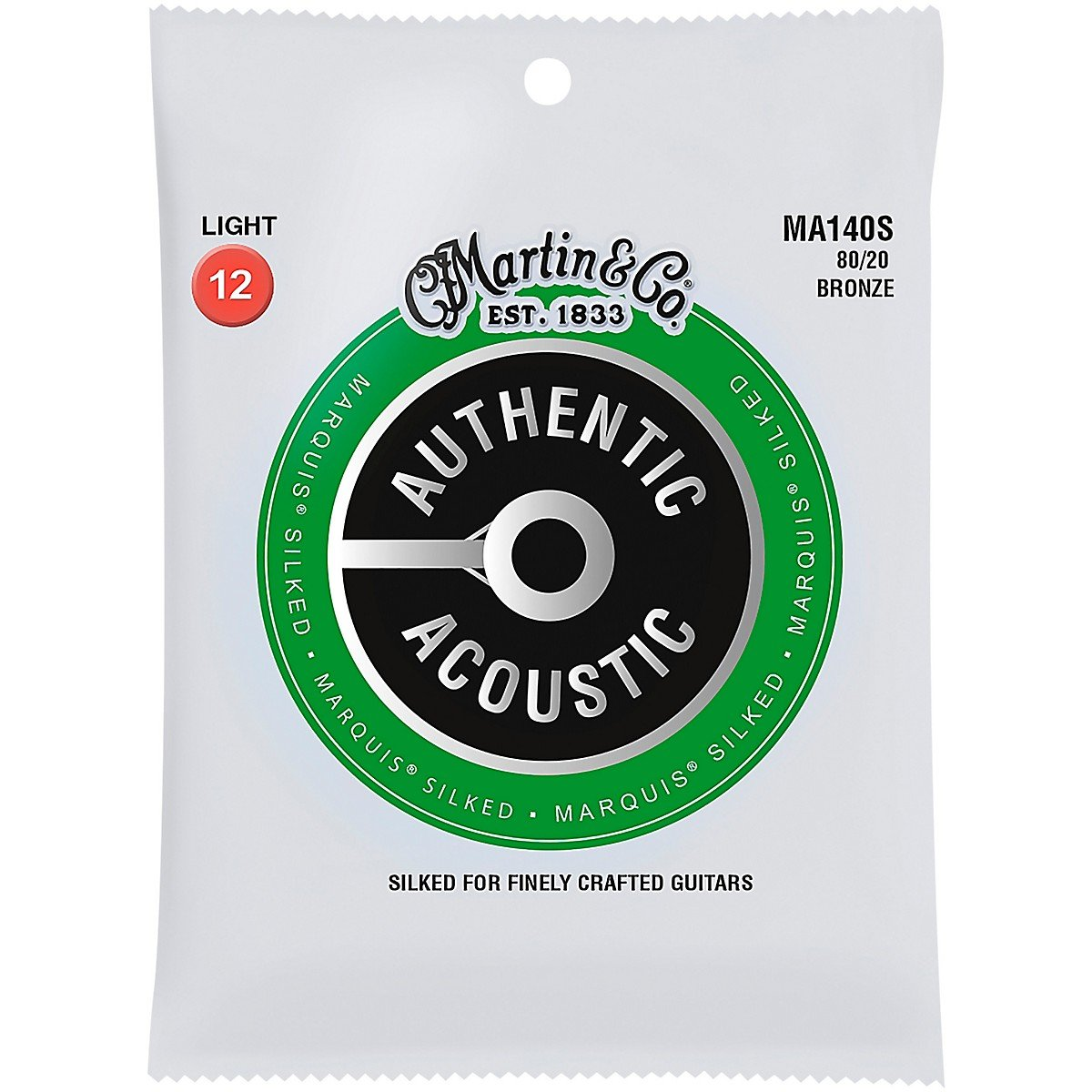 Martin MA140S Marquis Silked 80/20 Bronze Authentic Acoustic Guitar Strings, Light 12-54
