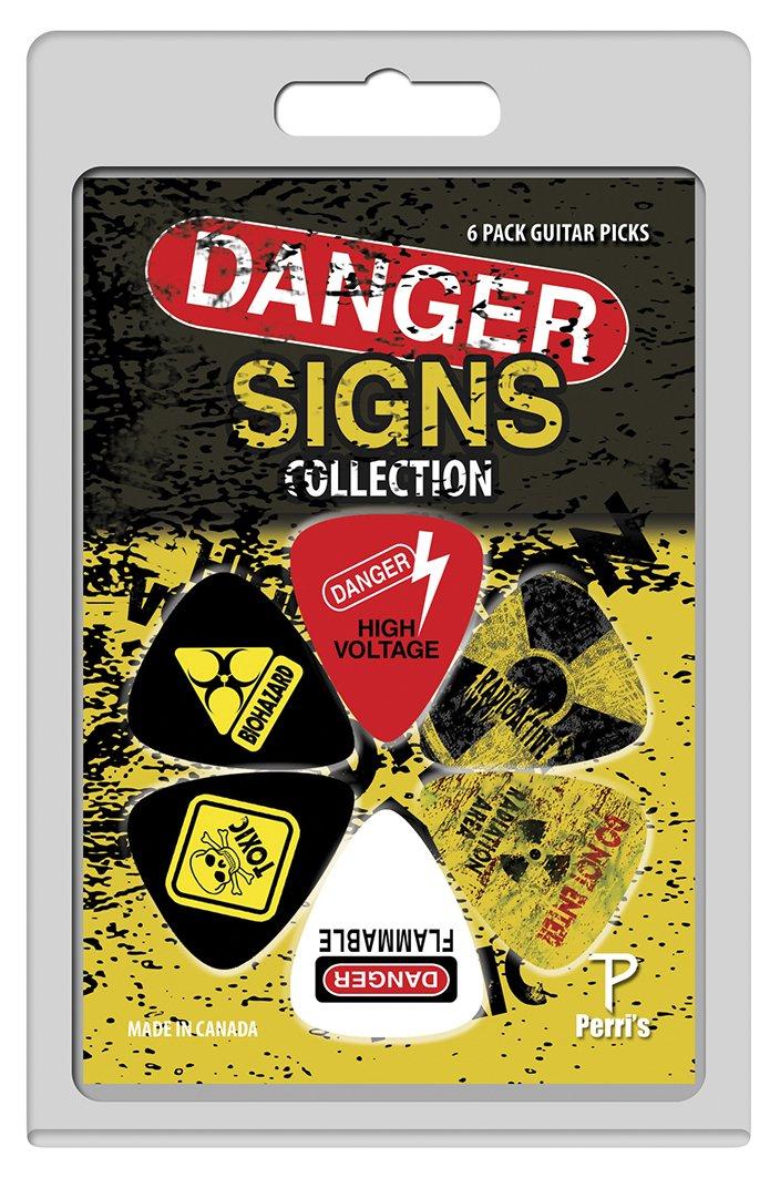 Perri's LP-PP01 Danger Signs Collection Guitar Picks, 6 pack