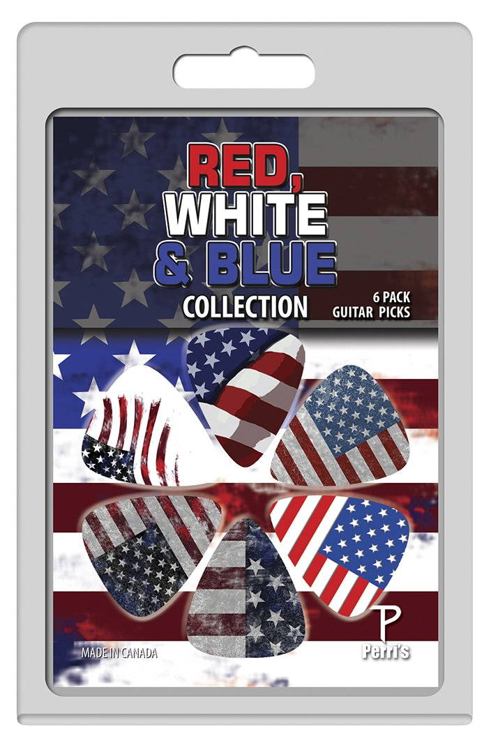 Perri's LP-PP06 The Red White and Blue Collection Guitar Picks, 6 pack