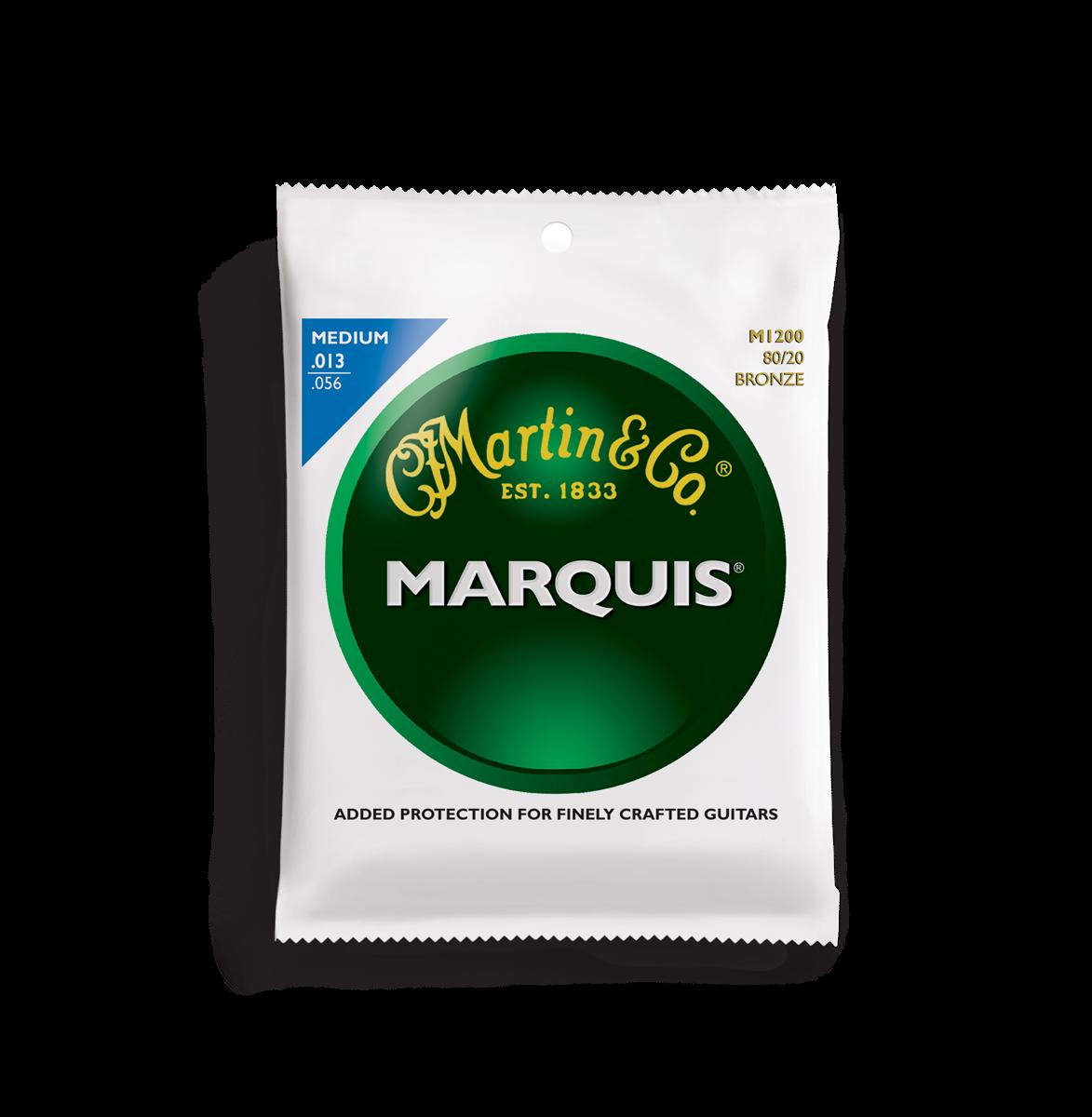 Martin Marquis 80/20 Bronze M1200 Acoustic Guitar Strings, Medium, 13-56