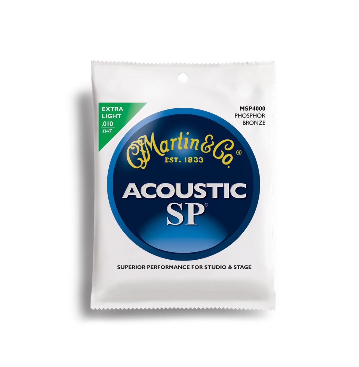 Martin SP Phosphor Bronze MSP4000 Acoustic Guitar Strings, Extra Light, 10-47