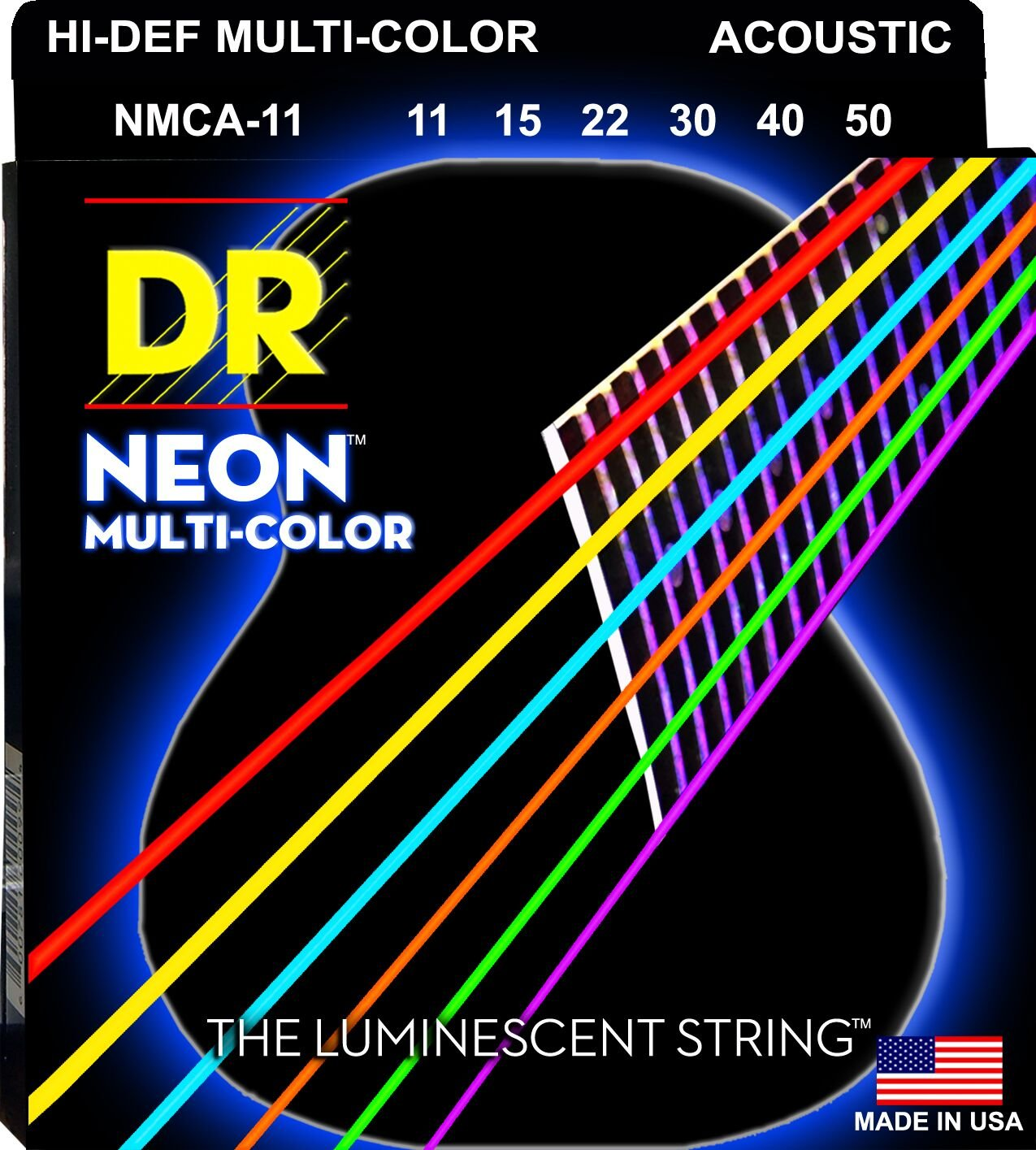 DR Strings NEON NMCA-11 Acoustic Guitar Strings, Hi-Def Multi-Color, Medium Light, 11-50