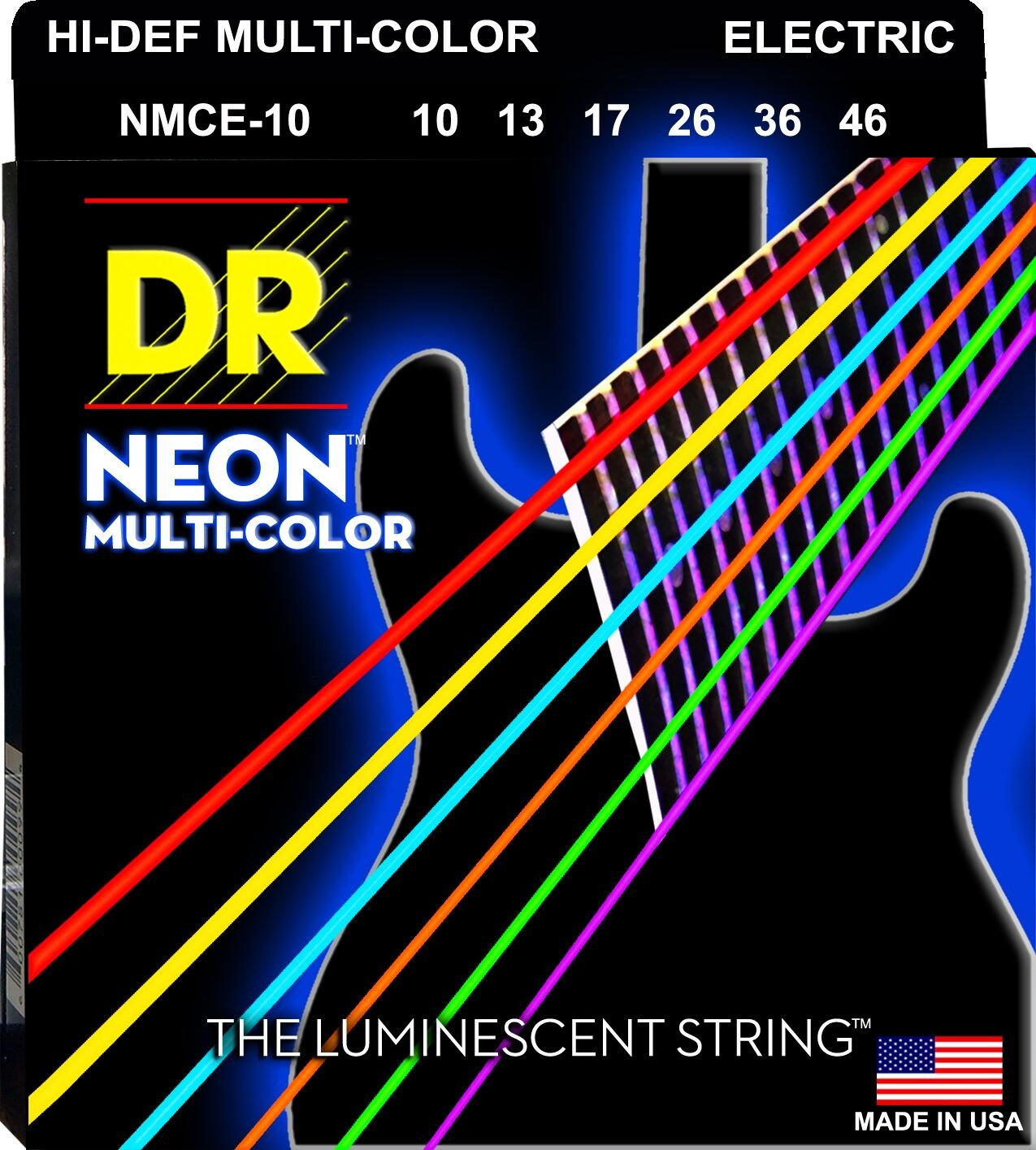 DR Strings NEON NMCE-10 Electric Guitar Strings, Hi-Def Multi-Color, Medium, 10-46