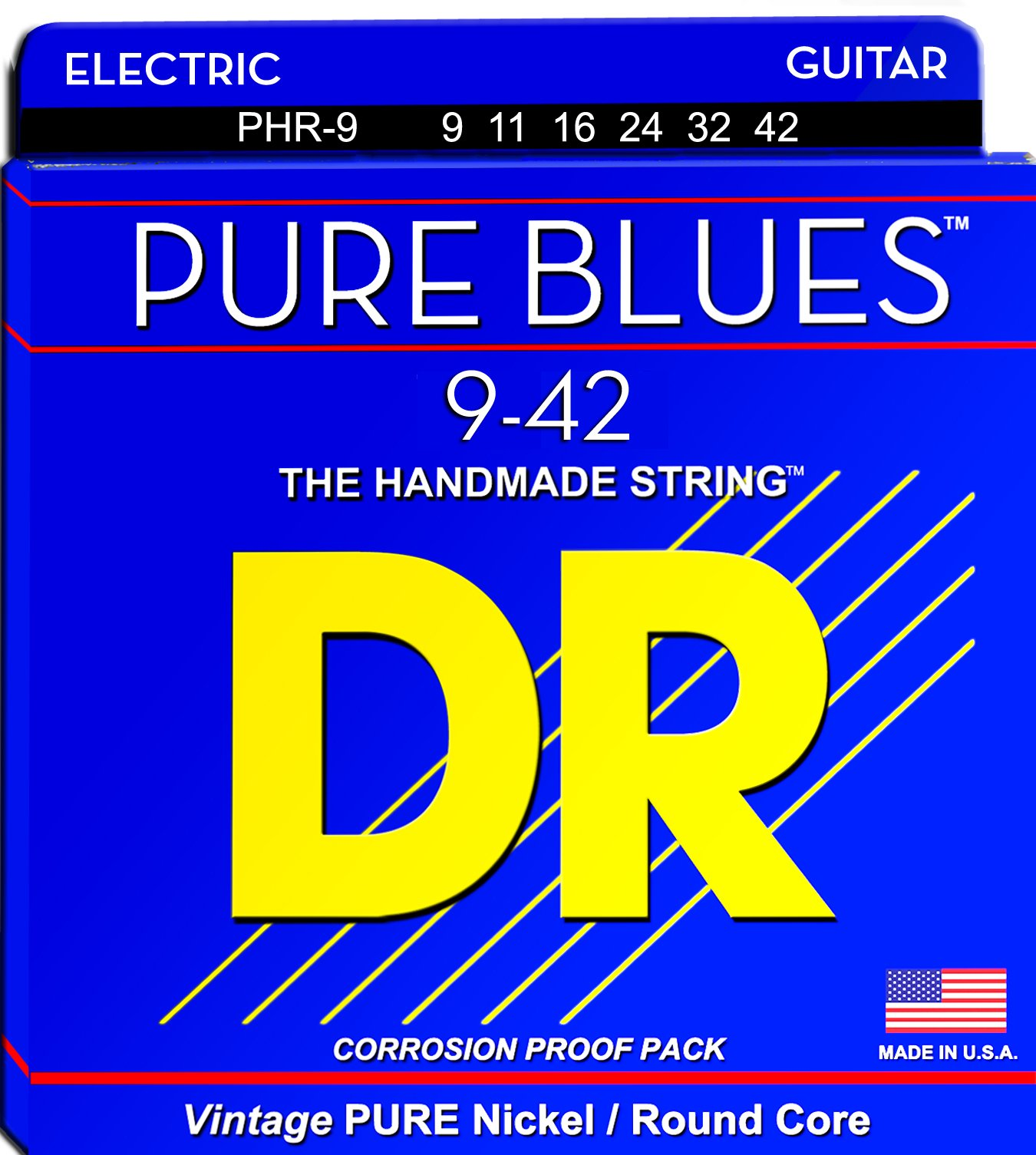 DR Strings PURE BLUES PHR-9 Electric Guitar Strings, Lite, 9-42