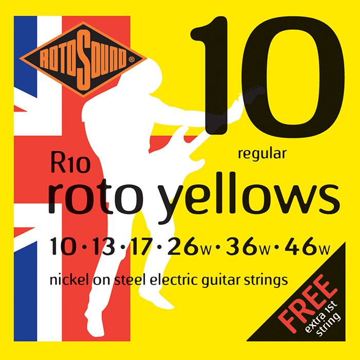 Rotosound Nickel Wound R10 Electric Guitar Strings, Roto Yellows, 10-46
