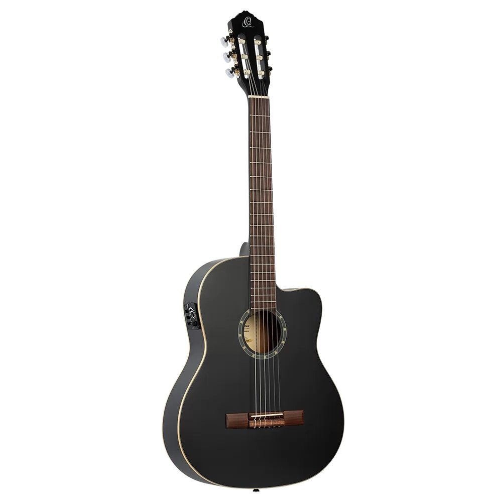 Ortega Family Series RCE125SN-SBK Acoustic-Electric Classical Guitar, Black