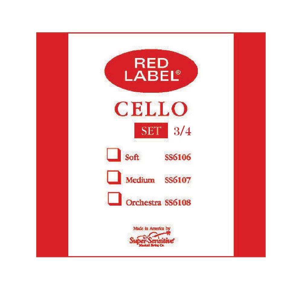 Super Sensitive Red Set 6105 Cello Strings, 3/4 Size
