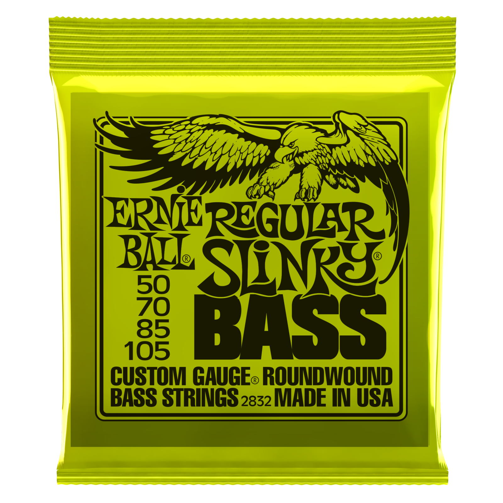 Ernie Ball Regular Slinky 2832 Bass Guitar Strings, Nickel Wound, 50-105