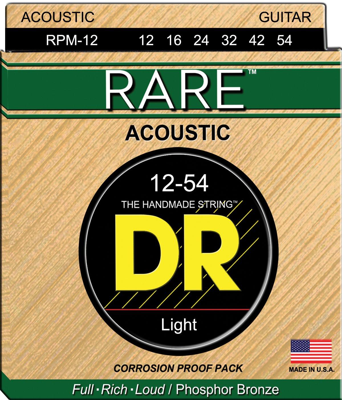 DR Strings RARE RPM-12 Acoustic Guitar Strings, Medium, 12-54