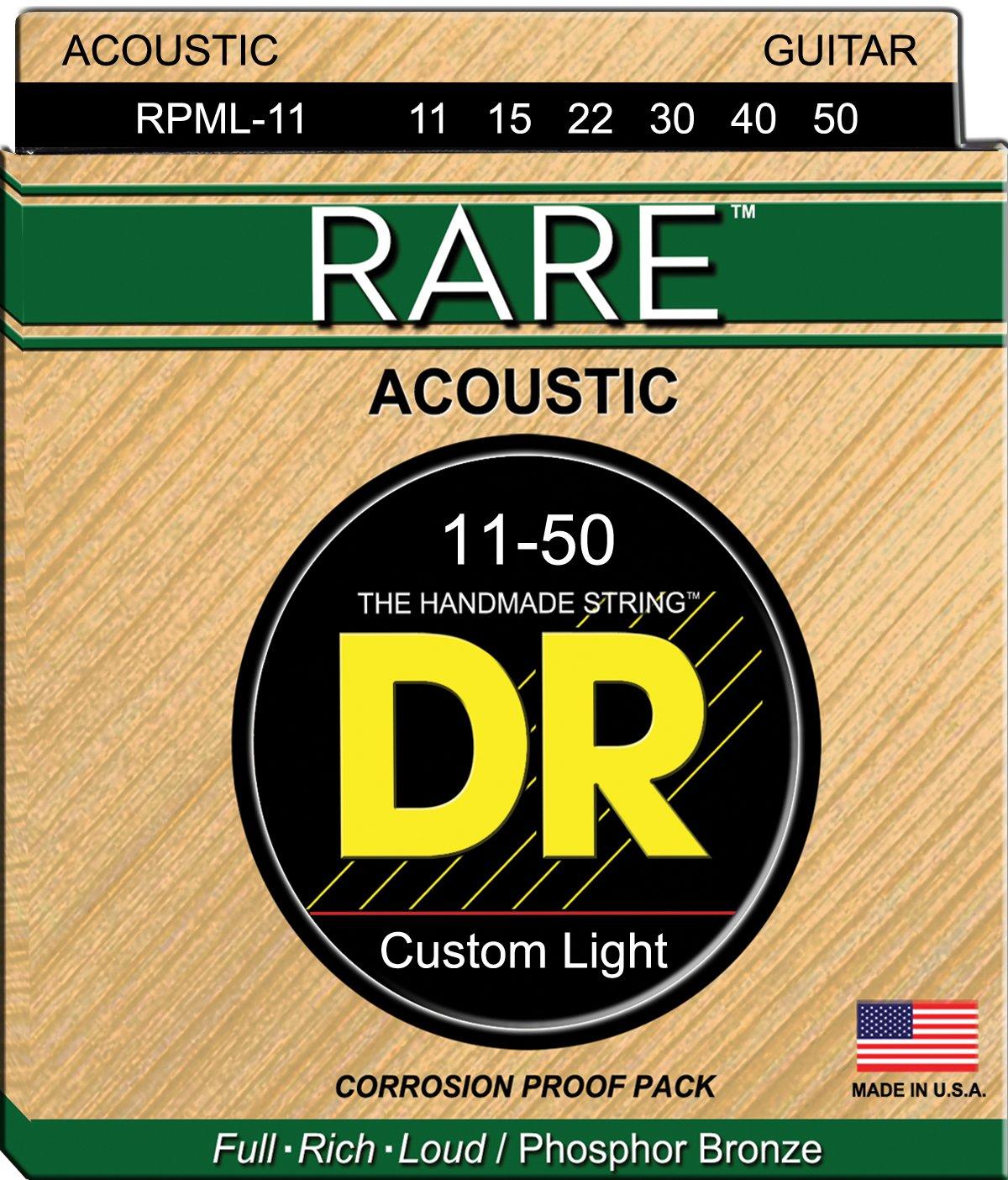 DR Strings RARE RPML-11 Acoustic Guitar Strings, Medium Light, 11-50