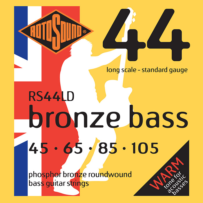 Rotosound Bronze Bass 44 RS44LD Acoustic Bass Guitar Strings, Phosphor Bronze, 45-105