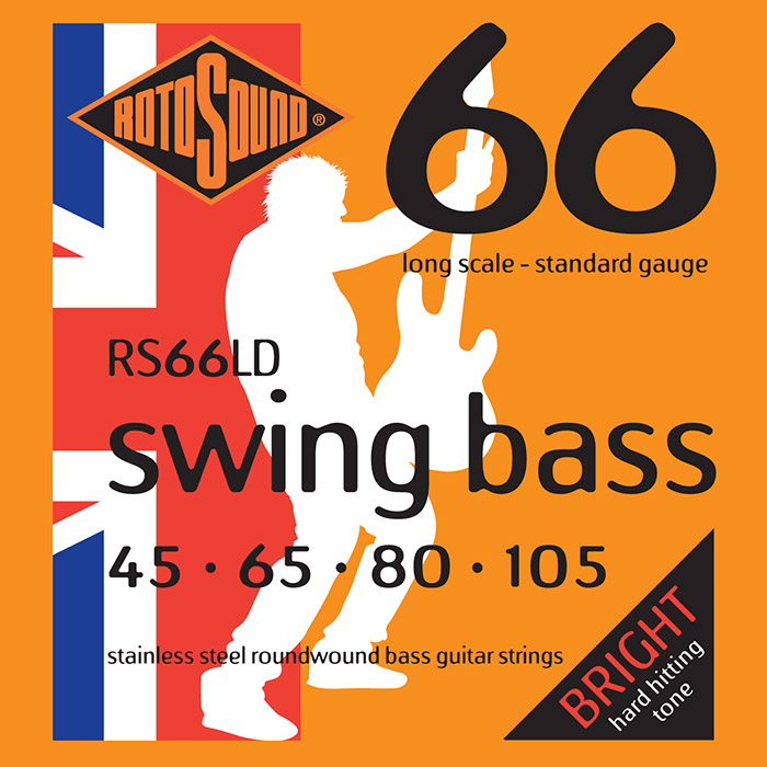Rotosound Swing Bass 66 RS66LD Bass Guitar Strings, Stainless Steel Roundwound, Long Scale, Bright, 45-105