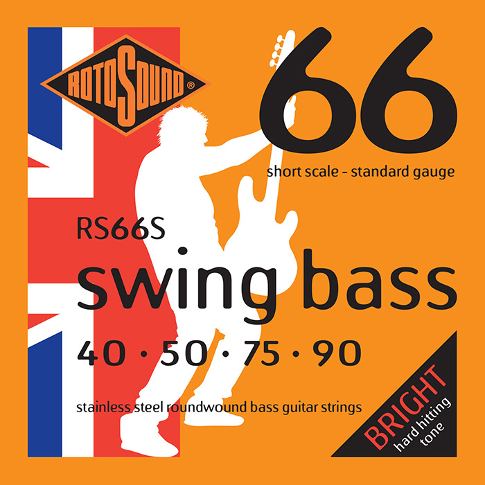 Rotosound Swing Bass 66 RS66S Bass Guitar Strings, Stainless Steel Roundwound, Short Scale, Bright, 40-90