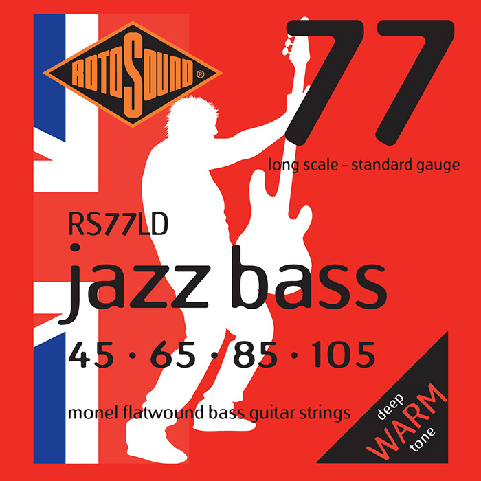 Rotosound Jazz Bass 77 RS77LD Bass Guitar Strings, Monel Flatwound, Long Scale, Warm, 45-105