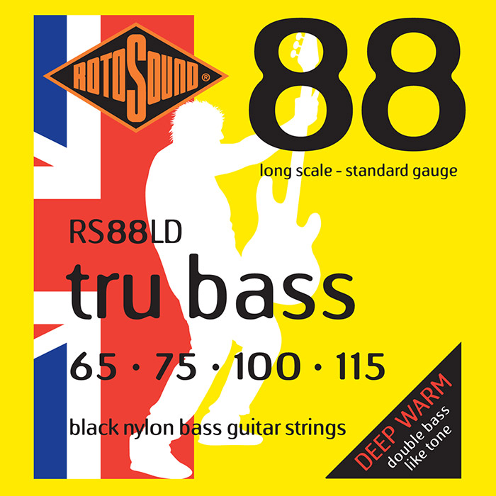Rotosound Tru Bass 88 RS88LD Bass Guitar Strings, Black Nylon, Long Scale, Deep Warm, 65-115