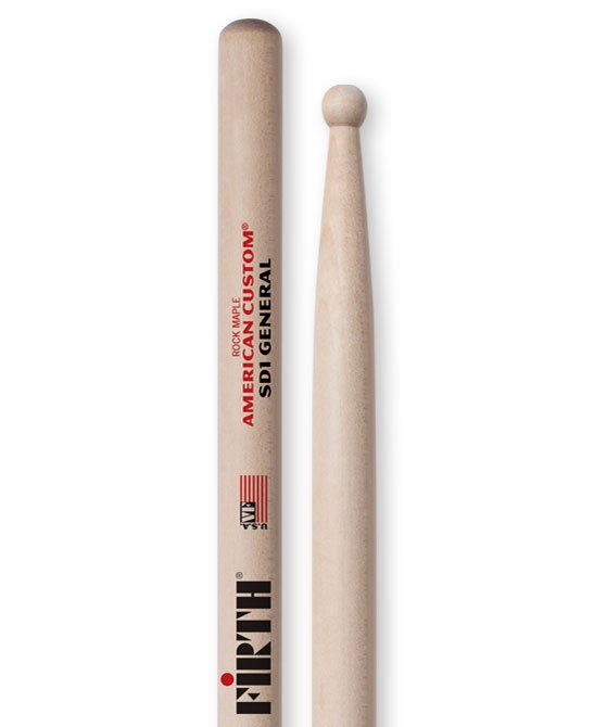 Vic FIrth American Custom SD1 General Drum Sticks, Rock Maple, Wood Tip