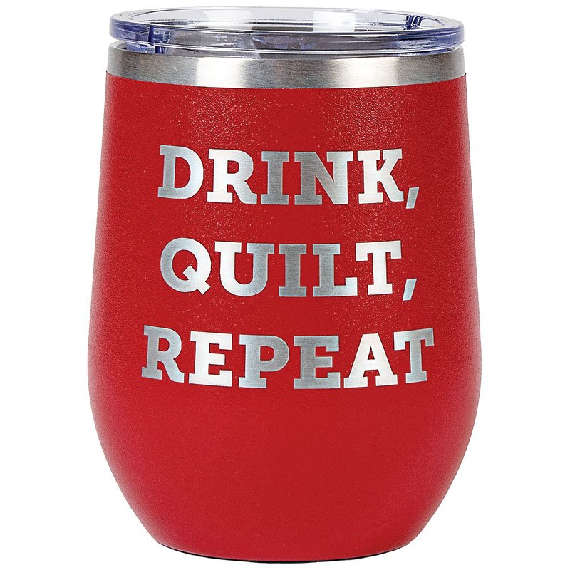 Tumbler Red Drink, Quilt, Repeat
