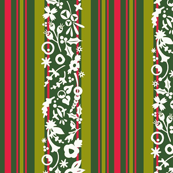 Alison Glass Holiday - Stripe (Mistletoe)