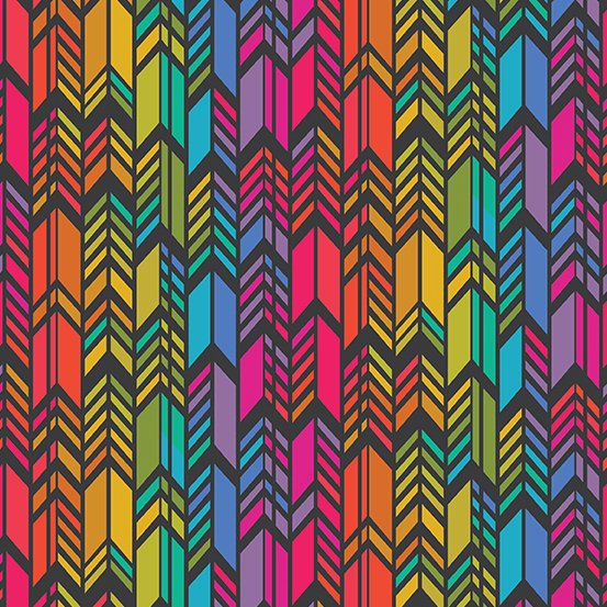 Alison Glass -  Art Theory - Rainbow Feather (Night)