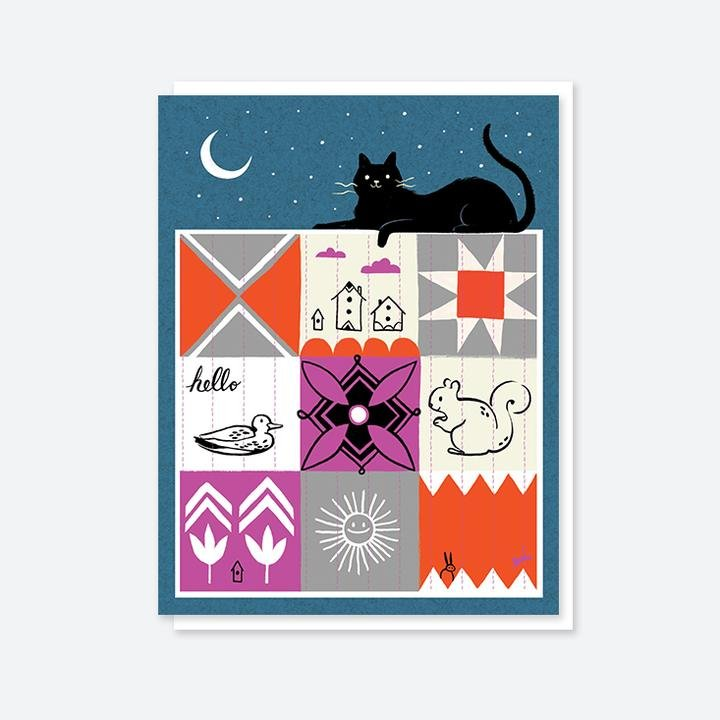 Cat Quilt Blank Card by CraftedMoon