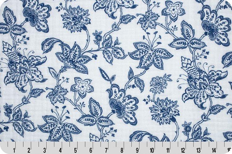 Shannon Fabrics Embrace Double Gauze - Garden Toile (Cobalt)