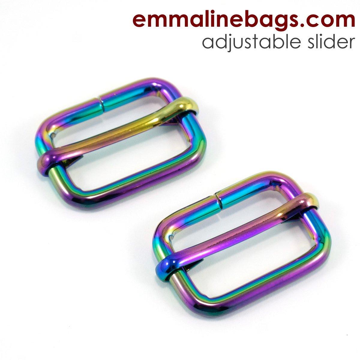 Emmaline Bags- Adjustable Sliders-1 inch (Iridescent Rainbow) 2 pack