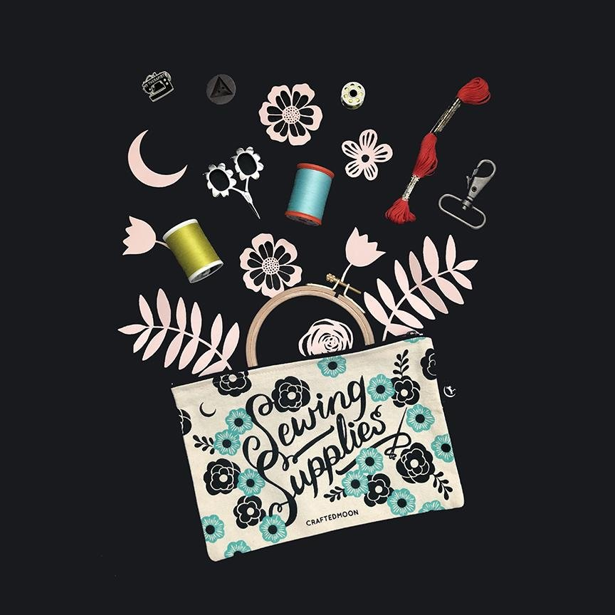 Crafted Moon -  Sewing Supplies Zipper Pouch
