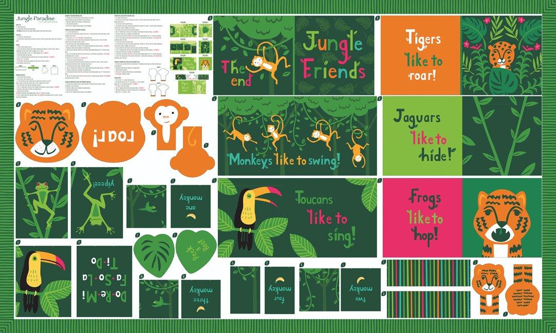 Stacy Iest Hsu - Jungle Paradise - 36 x 60 Animals Book Panel (Multi)