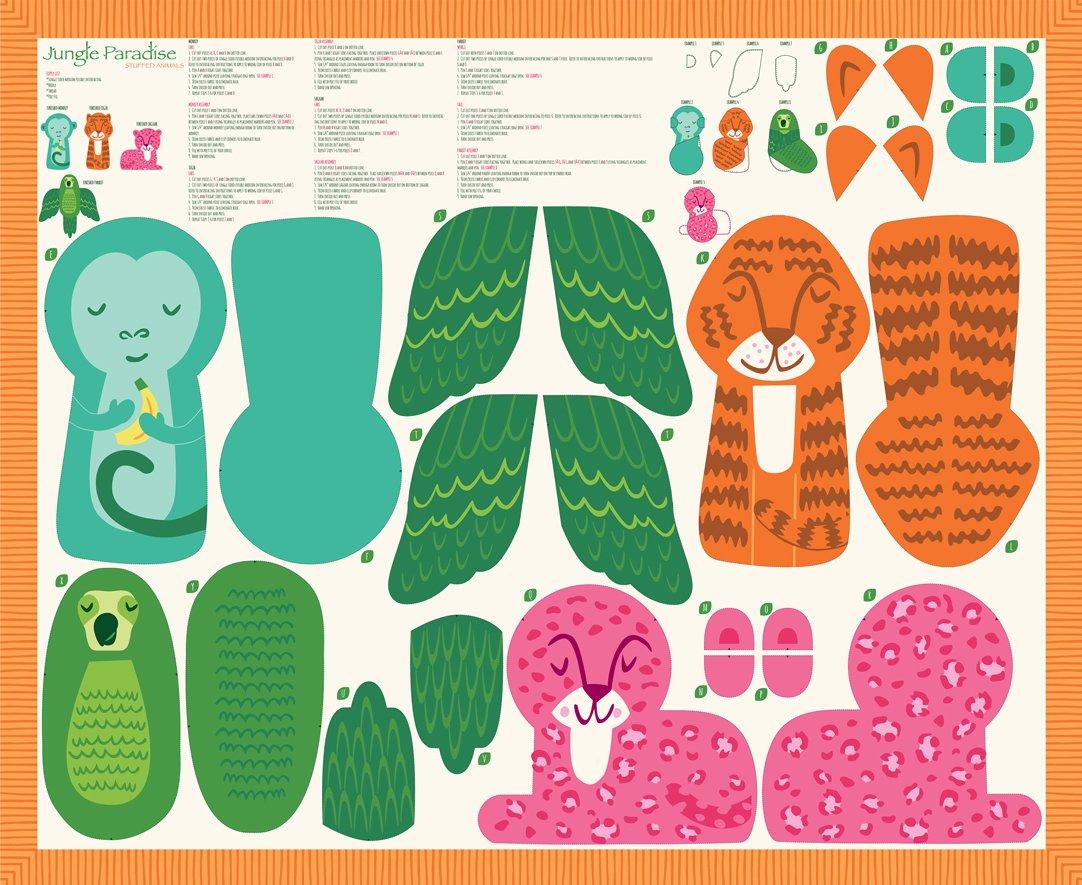 Stacy Iest Hsu - Jungle Paradise - 36 x 44 Stuffed Animals Panel (Multi)