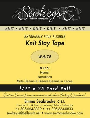 Fusible Knit Stay Tape .5in Extremely Fine (Ivory) 25 Yards