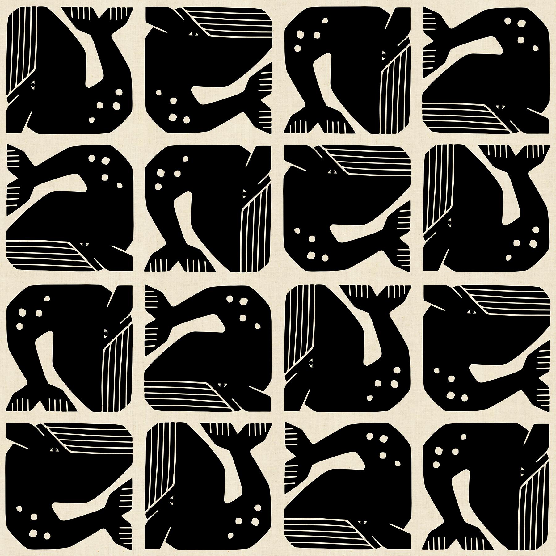 Cotton+Steel By the Seaside (Grumpy Whale Black)