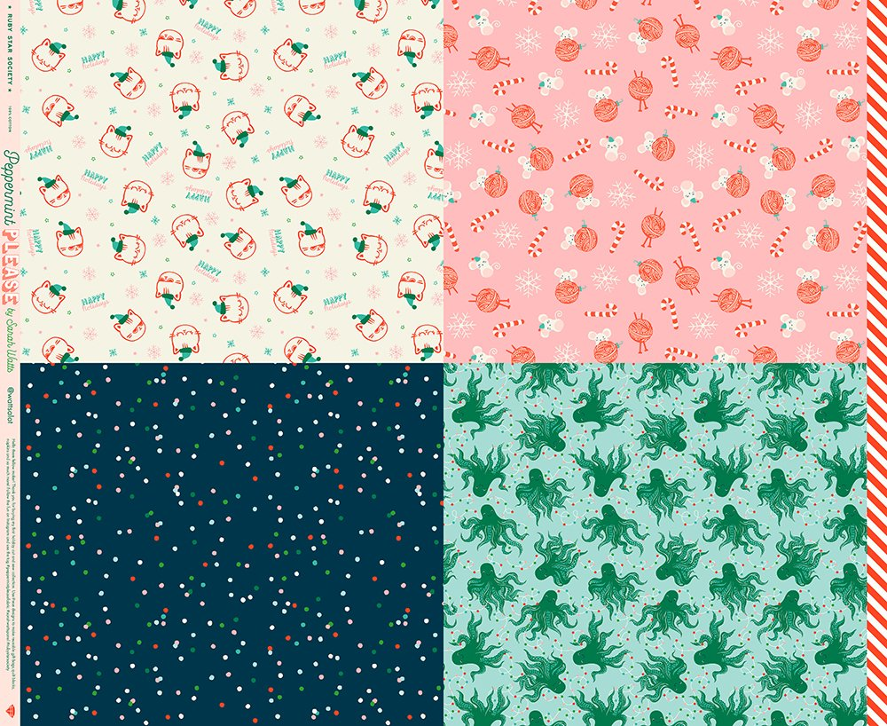 Ruby Star Society - Peppermint Please Wrap Christmas Panel 36 x 44(Multi)