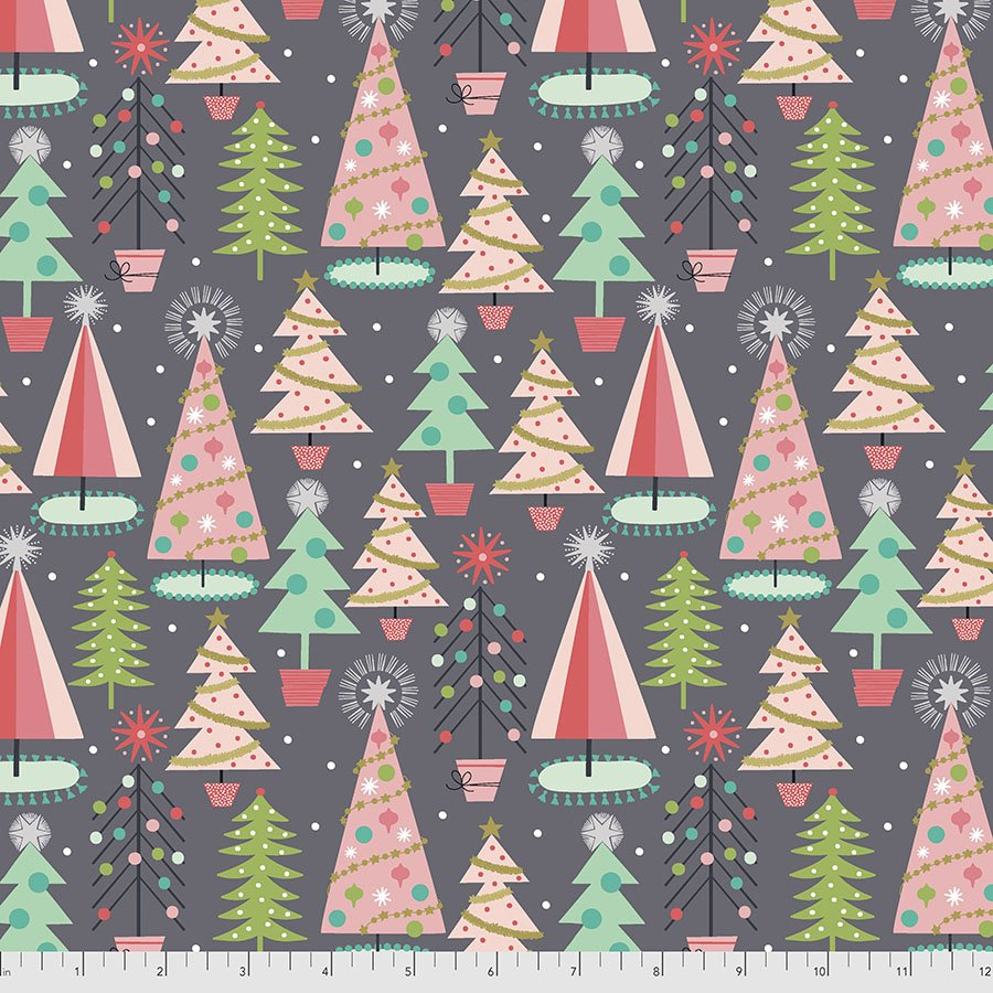 Maude Asbury - Fa La La Collection - Christmas Spruces (Grey)