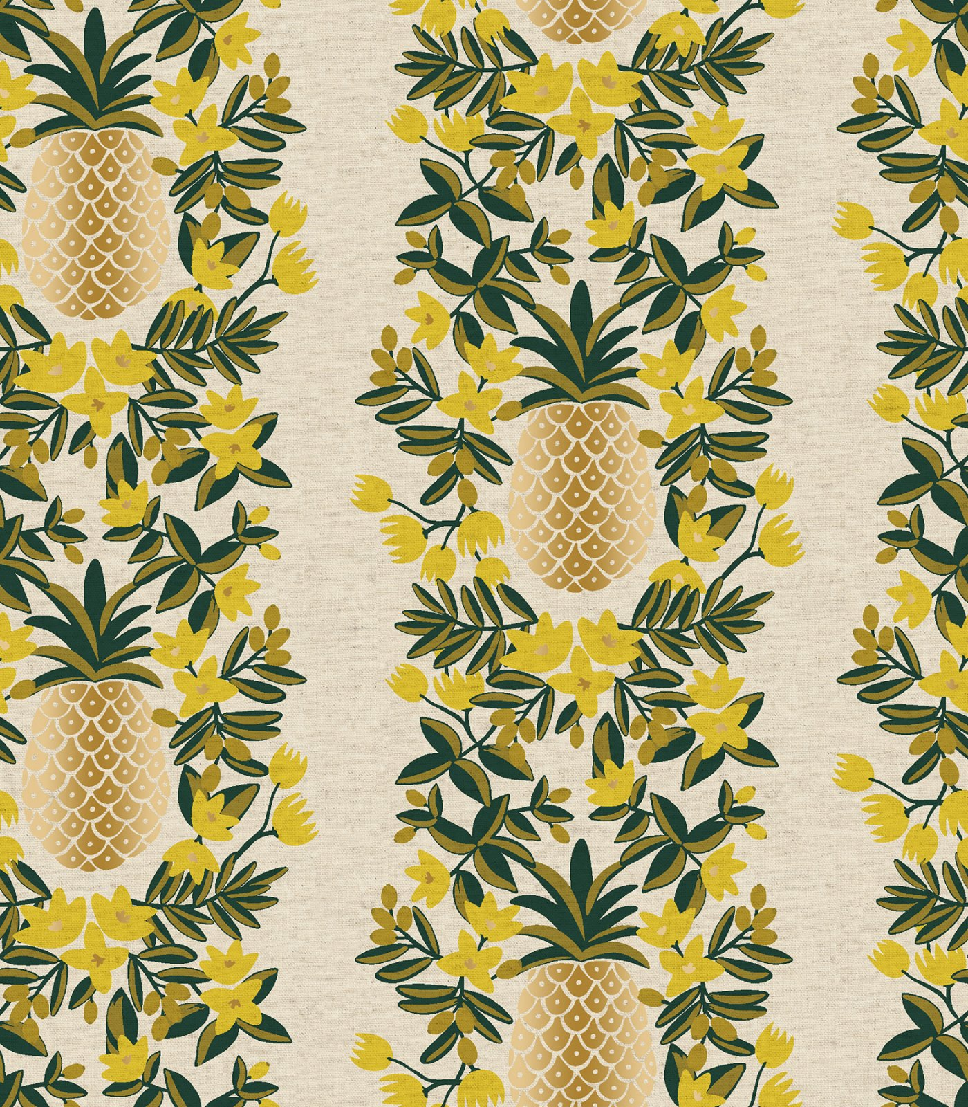 Rifle Paper Co. Primavera Pineapple Stripe (Cream Canvas Metallic)