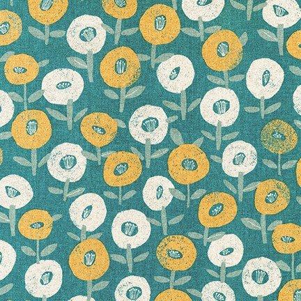 Cotton Flax Prints - Floral Pop (Slate)